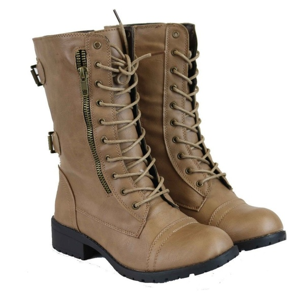 Shoes - Women's Beige Tan Mid Calf Combat Boots NEW